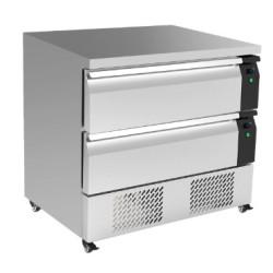 Soubassement réfrigéré négatif - 2 tiroirs - GN 2/1 - 153 L. - 900 (L) x 700 (P) mm - Classe N