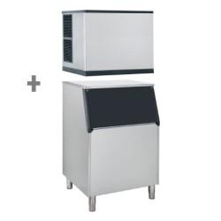Machine à glaçons + bac à glaçons 480 kg - 212 kg / jour - A eau - Automatique - Classe N