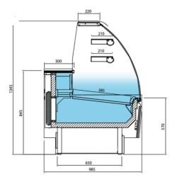 Vitrine réfrigérée positive - Paiement 4X - Blanc - 938 (L) x 985 (P) x 1345 (H) mm - Avec éclairage - Classe N