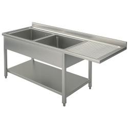 Plonge inox - AISI 304 - 1600 (L) x 700 (P) x 900 (H) mm - Avec égouttoir - 2 bacs à gauche - Passage lave-vaisselle à droite
