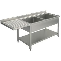 Plonge 2 bacs 1 égouttoir gauche 1600 x 700 avec emplacement pour un lave vaisselle