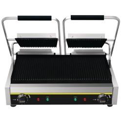 Appareil Panini professionnel double acier nervure viande thermostat réglable  jusqu'à 300°C