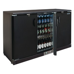 Meuble arriere-bar refrigeree 3 portes vitres coulissantes