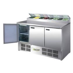 Saladette inox réfrigerée 3 portes GN 1/1, 370 litres