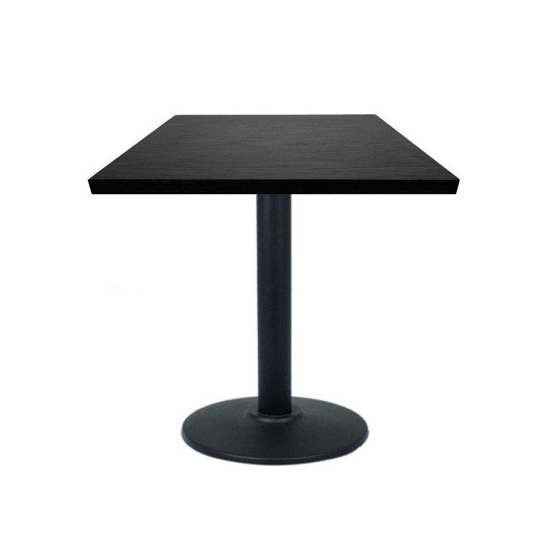Table de restaurant marron 60 avec base ronde en fonte avec plateau carr gastromastro group sas - Plateau de table restaurant ...