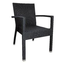 Chaises en rotin gris anthracite avec accoudoire