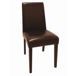 Chaises en simili cuir marron foncé