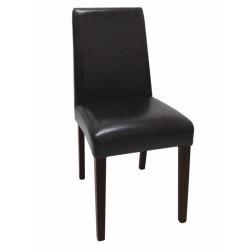 Chaises en simili cuir noir foncé