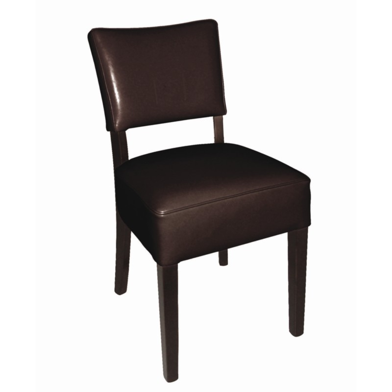 chaises en simili cuir marron fonc resto gastromastro. Black Bedroom Furniture Sets. Home Design Ideas