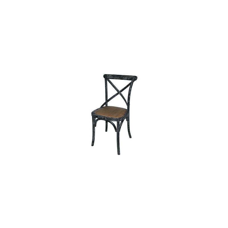 chaise en bois noir patin avec dossier crois gastromastro group sas. Black Bedroom Furniture Sets. Home Design Ideas