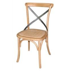 Chaise en bois naturel avec dossier croisé