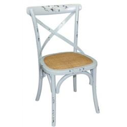 Chaise en bois bleu avec dossier croisé