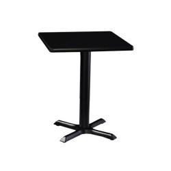 Table carré de restaurant avec base carré en acier inoxidable
