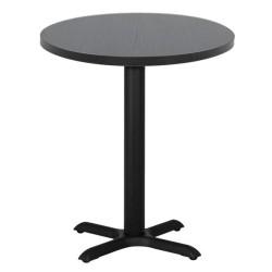 Table ronde de restaurant avec base carré en acier inoxidable