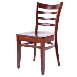 Chaise en bois noir patiné avec dossier croisé