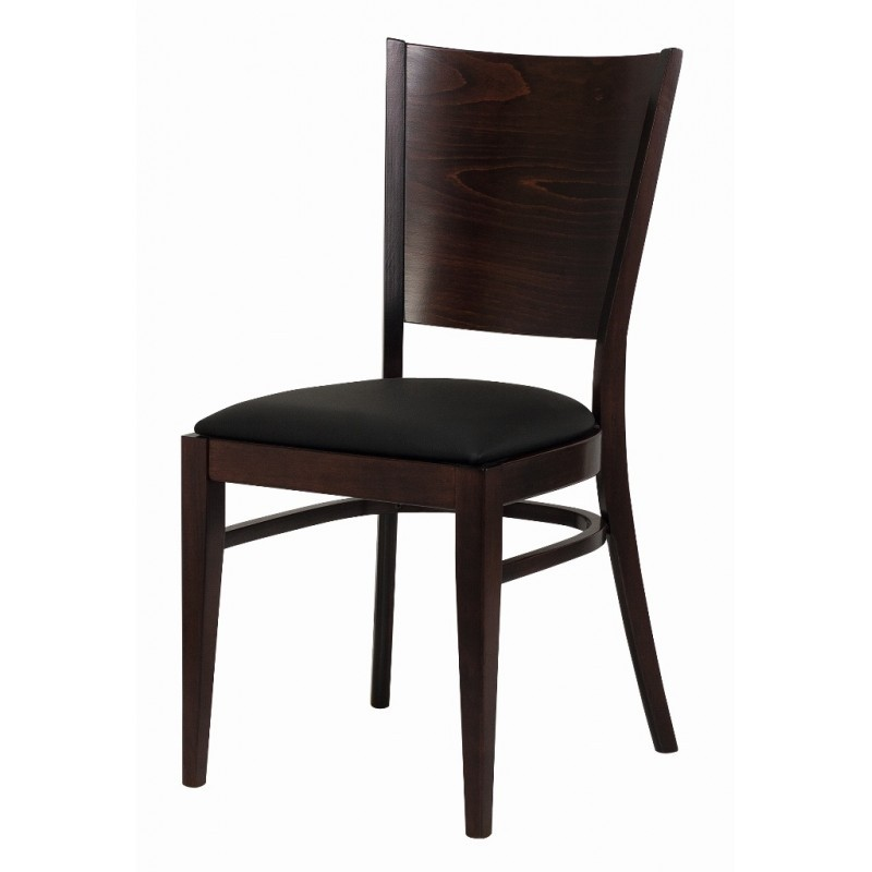 Chaise Bistrot Bois Assise Simili Noir