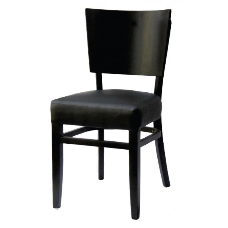 chaise bistrot bois noir et simili cuir gastromastro group sas. Black Bedroom Furniture Sets. Home Design Ideas