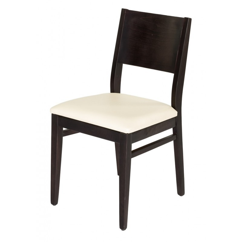 chaise bistrot bois assise simili blanche gastromastro group sas. Black Bedroom Furniture Sets. Home Design Ideas