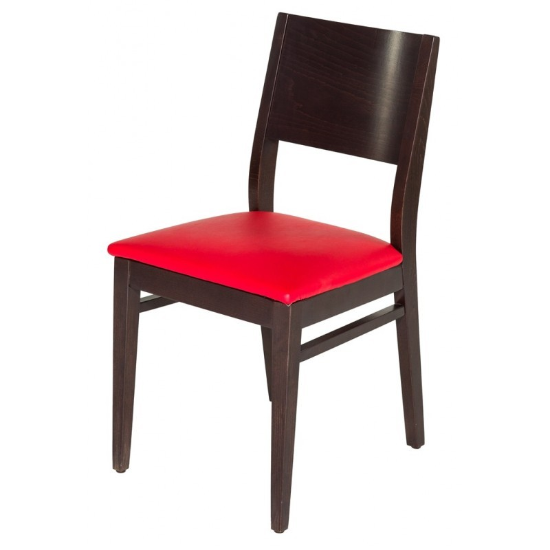 chaise bistrot bois assise simili rouge gastromastro. Black Bedroom Furniture Sets. Home Design Ideas