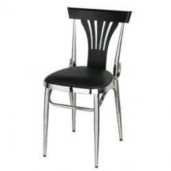 Chaise chromé métal noir