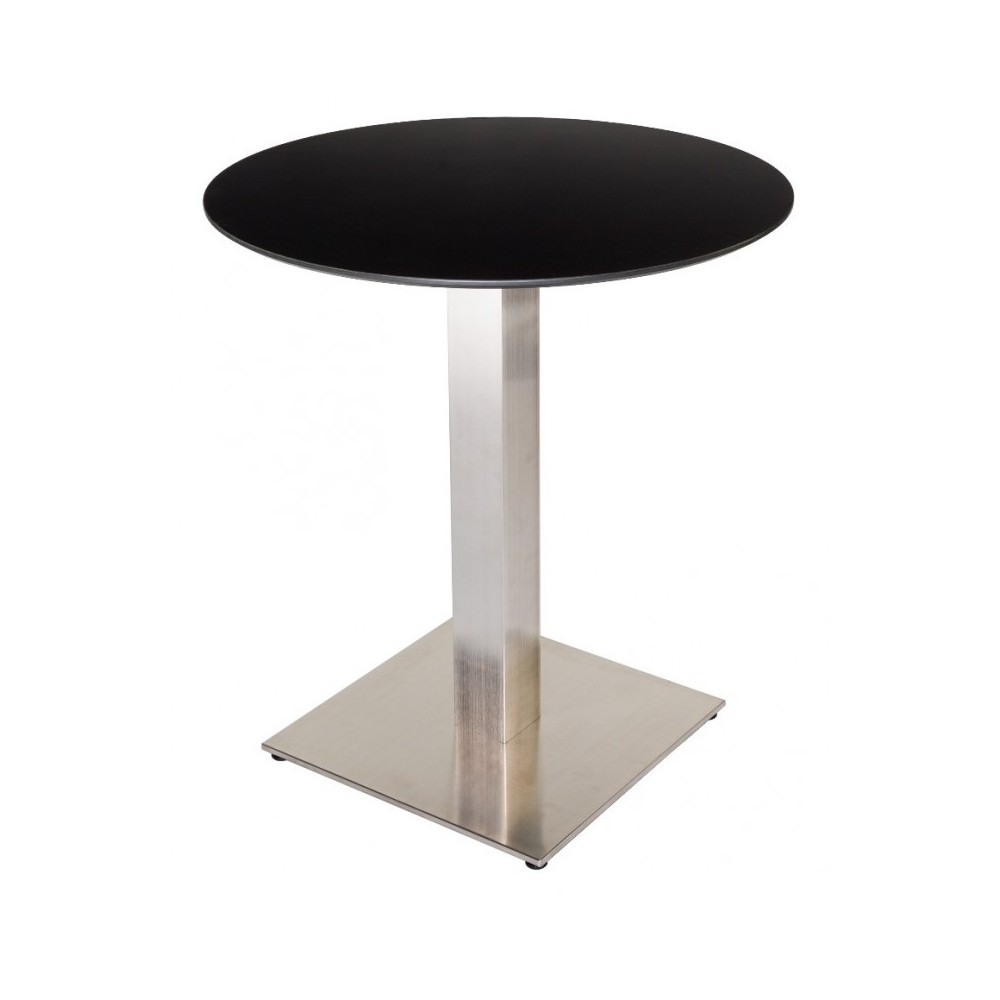 table de restaurant ronde wenge 60 base ultra plat en inox bross avec plateau carr. Black Bedroom Furniture Sets. Home Design Ideas