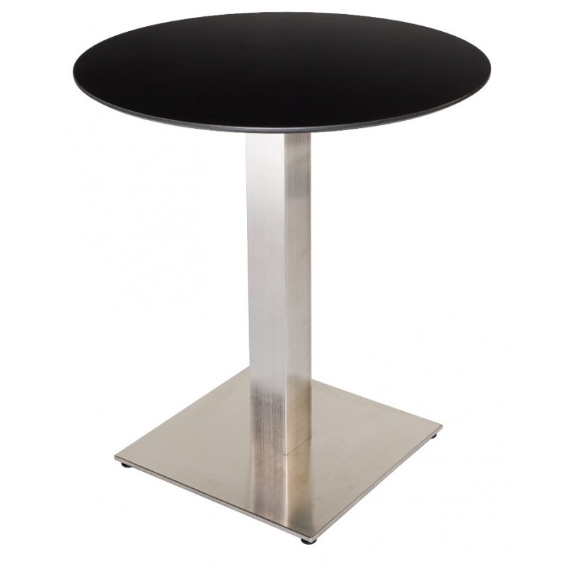 table de restaurant base ronde ultra plat en inox bross avec plateau carr au choix. Black Bedroom Furniture Sets. Home Design Ideas