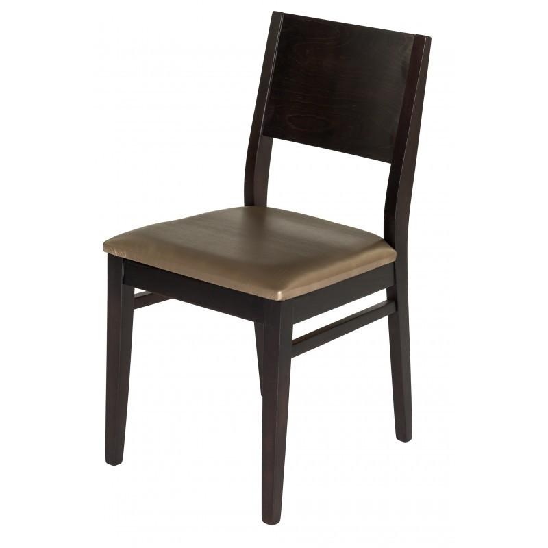 Chaise bistrot bois et assise simili cuir gris for Chaise bois noir