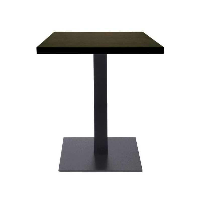 Table de restaurant base carr ultra plat en acier noir avec plateau carr gastromastro - Plateau de table restaurant ...