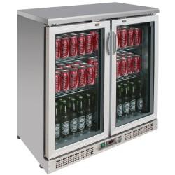 Arrière-bar réfrigéré - 2 portes battantes - INOX - 223 litres - Garantie 2 ans - Classe N